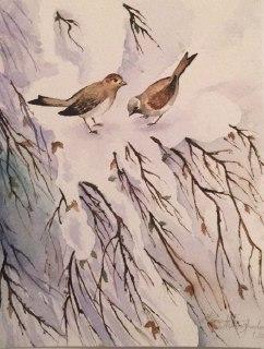 درخت برفی و گنجشک